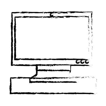 monitor screen computer technology device vector illustration sketch design Illustration