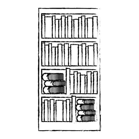 異なる本文学ベクトルイラストスケッチデザインと大きな本棚