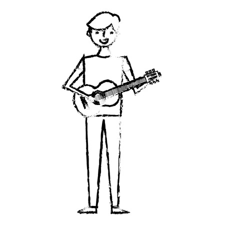 young musician man playing guitar vector illustration sketch design