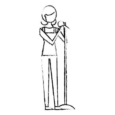 woman character singing song with microphone vector illustration sketch design