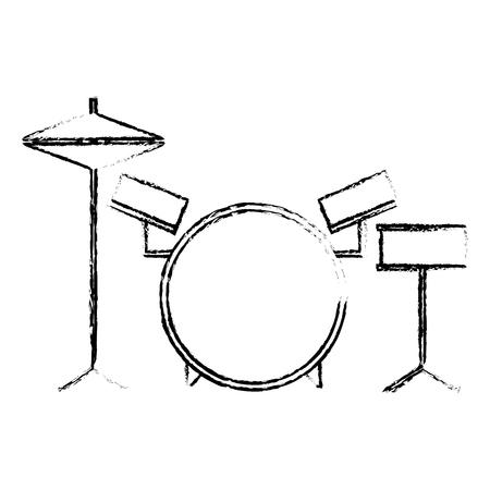 musical drums battery set instruments vector illustration sketch design