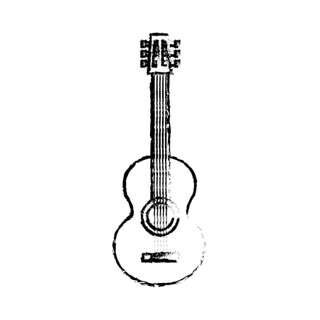 classic guitar instrument musical image vector illustration sketch design