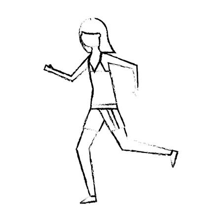 happy woman in swimsuit running image vector illustration sketch design Illustration