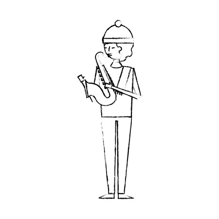 musician young man playing saxophone in warm clothes vector illustration sketch design