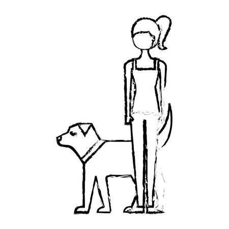 young woman walking with her dog pet vector illustration sketch design