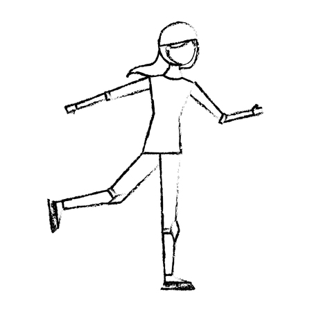 happy young woman ice skating with protection vector illustration sketch design