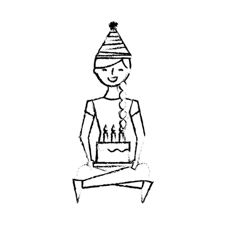 happy girl sitting in floor with birthday cake vector illustration sketch design