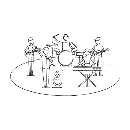 musician band concert people with instruments vector illustration sketch design 向量圖像