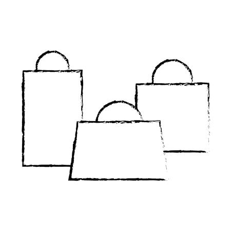 set of shopping paper bag gift vector illustration sketch design