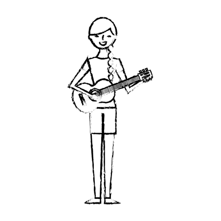 cute character woman playing guitar vector illustration sketch design Illustration