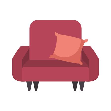 soft sofa with a cushion furniture interior vector illustration