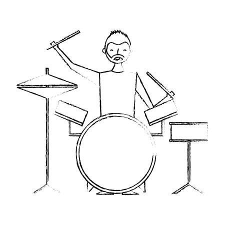 smiling man playing instrument music battery vector illustration sketch design Illustration
