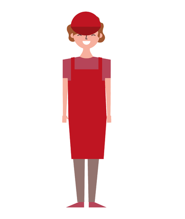 female barista standing wearing apron and cap vector illustration Illustration