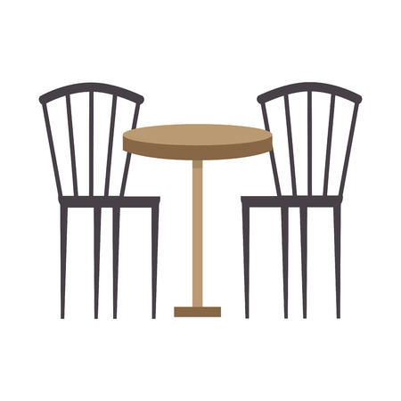 two wooden chair round table furniture vector illustration