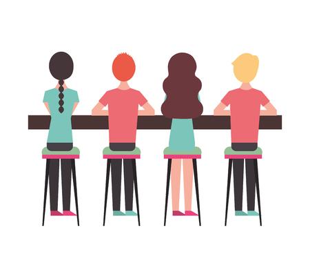 Gens de groupe assis sur un tabouret vu de l'illustration vectorielle arrière Banque d'images - 97674314