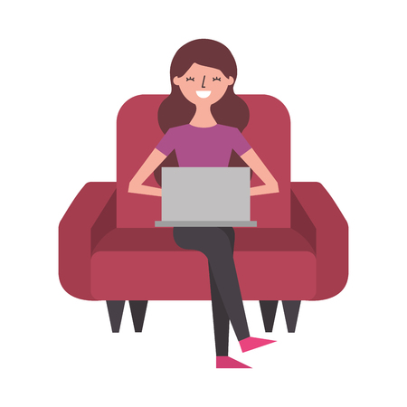 smiling young woman sitting on sofa with laptop vector illustration