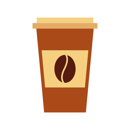 disposable coffee cup icon with coffee bean takeaway vector illustration Фото со стока - 97674406