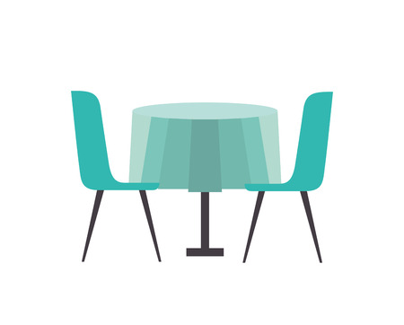 furniture restaurant pair chair and round table vector illustration Illustration
