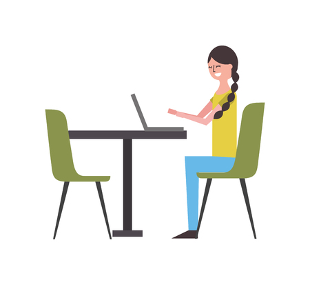 cute woman sitting in the chair typing laptop on table vector illustration Foto de archivo - 97674606