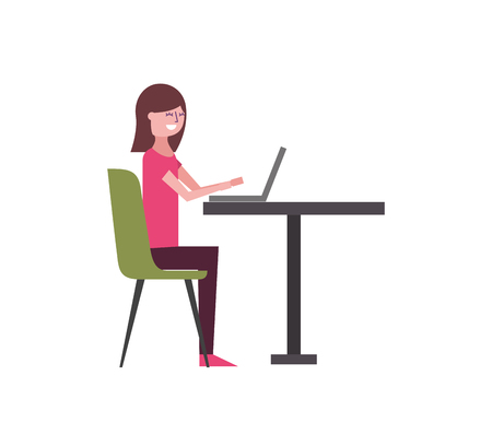 cute woman sitting in the chair typing laptop on table vector illustration Foto de archivo - 97674604