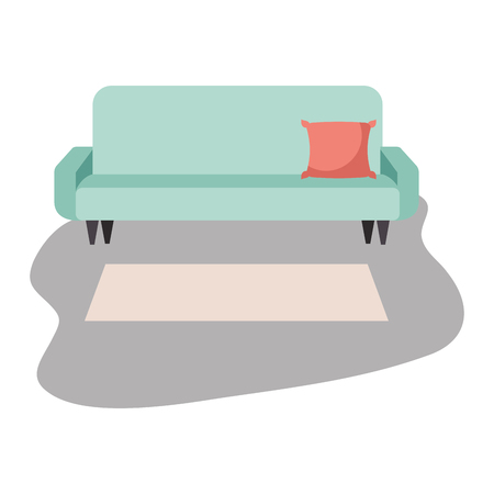 living room sofa cushion carpet furniture decoration interior vector illustration Illustration
