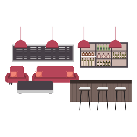 coffee shop interior counter stools sofa menu vector illustration