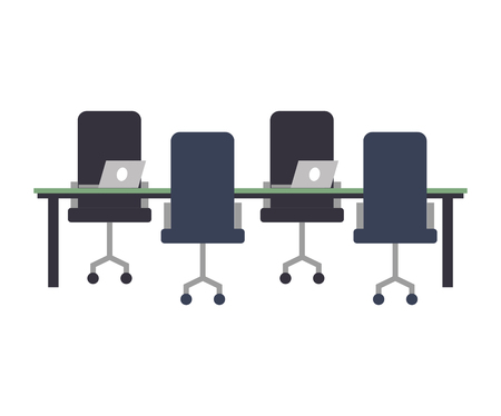 workspace meeting table chairs and laptop computers vector illustration Illustration