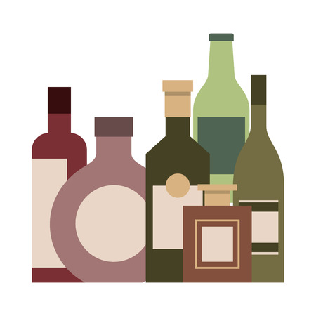 collection bottles liquor beverage drink vector illustration Çizim