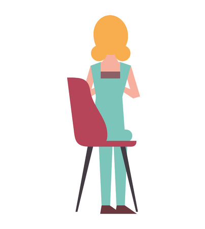 blonde woman sitting in the chair back view vector illustration