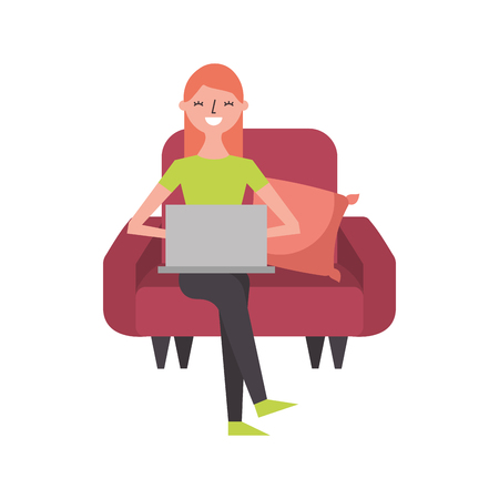 happy woman sitting in the sofa with her laptop vector illustration