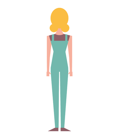 back view of woman standing character vector illustration