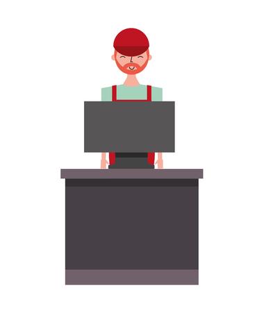 barista male in uniform standing behind cash register vector illustration