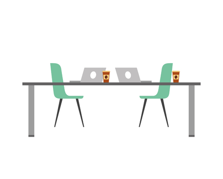 table chairs laptop computers and disposable coffee cups vector illustration Stock Illustratie