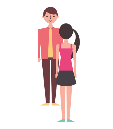 couple standing looking at each other vector illustration