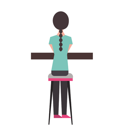 back view young woman sitting on stool and counter vector illustration Banque d'images - 97675535