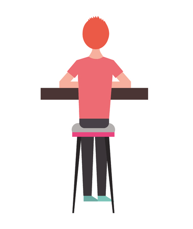 back view cartoon man sitting on stool and counter vector illustration  イラスト・ベクター素材