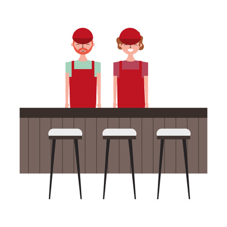 employee baristas standing behind bar counter and stools vector illustration Illustration
