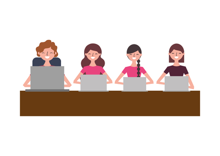people team working in the table with their laptops vector illustration