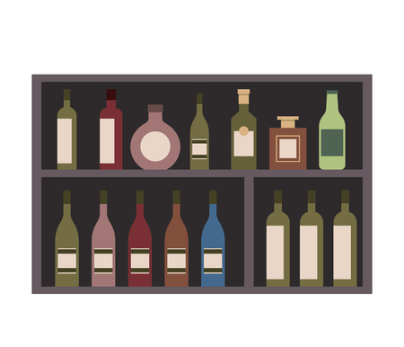 shelving furniture with different glass bottles beverages alcohol vector illustration Ilustrace