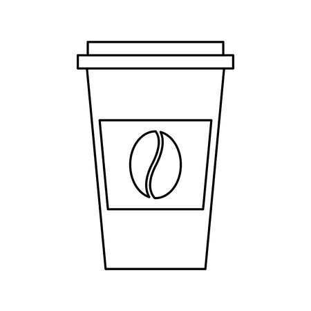disposable coffee cup icon with coffee bean takeaway vector illustration outline design Фото со стока - 97675566