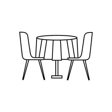 家具レストランペアチェアとラウンドテーブルベクトルイラストアウトラインデザイン  イラスト・ベクター素材