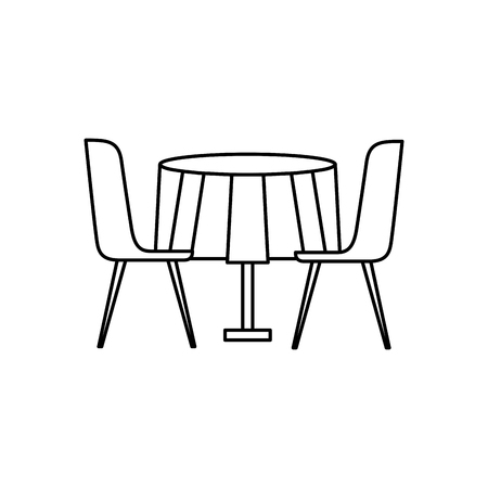 furniture restaurant pair chair and round table vector illustration outline design