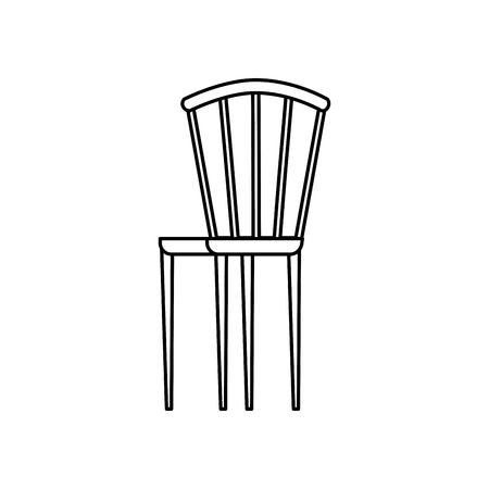 wooden elegant chair furniture image vector illustration outline design