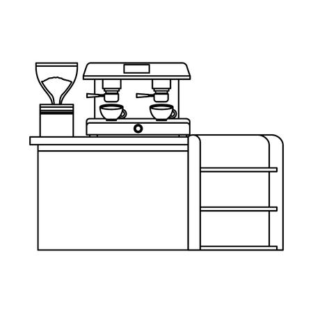 bar counter machine make coffee espresso vector illustration outline design Stock Vector - 97675570