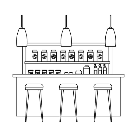 coffee shop interior products shelving counter lamps vector illustration outline design