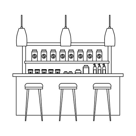 Progettazione interna del profilo dell'illustrazione di vettore delle contro lampade delle scaffalature dei prodotti della caffetteria Archivio Fotografico - 97674948
