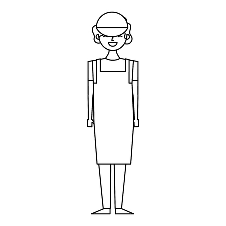 female barista standing wearing apron and cap vector illustration outline design
