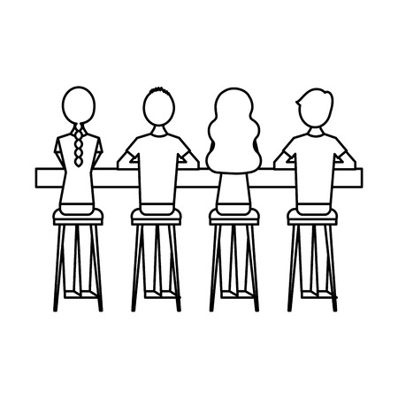 group people sitting on stool viewed from the back vector illustration outline design