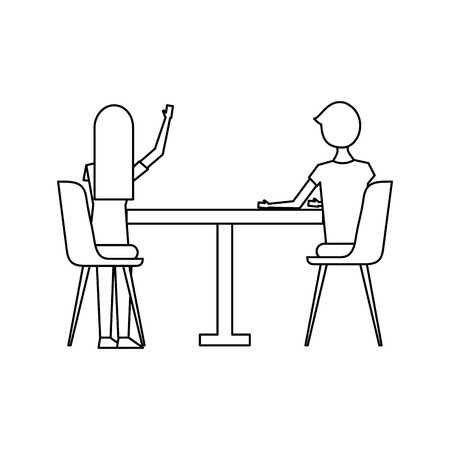 couple sitting on the chairs and table at view from the back vector illustration outline design
