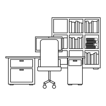 workspace office desk pc armchair bookshelf books vector illustration outline design Illustration